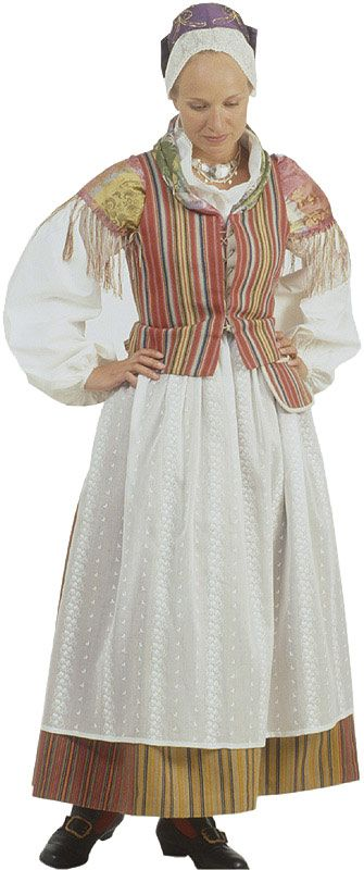 Traditional Finnish folk costume, a woman´s dress representing the region of Vihti.
