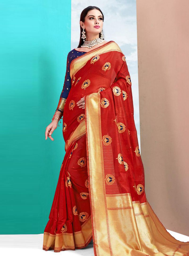 168220e31d8e ... Buy Red Cotton Silk Festival Wear Saree 148804 with blouse online at  lowest price from vast ...