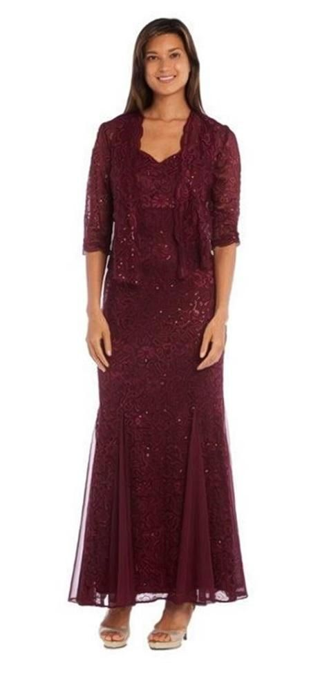 Rm Richards Long Mother Of The Bride Fully Lace Dress Jacket In