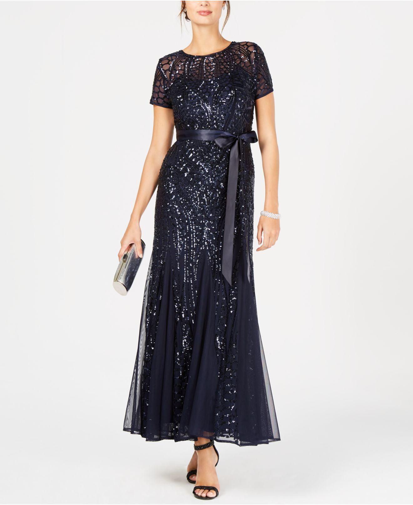 9423cef5acb R   M Richards Sequin-embellished Pleated Gown in Blue - Lyst ...