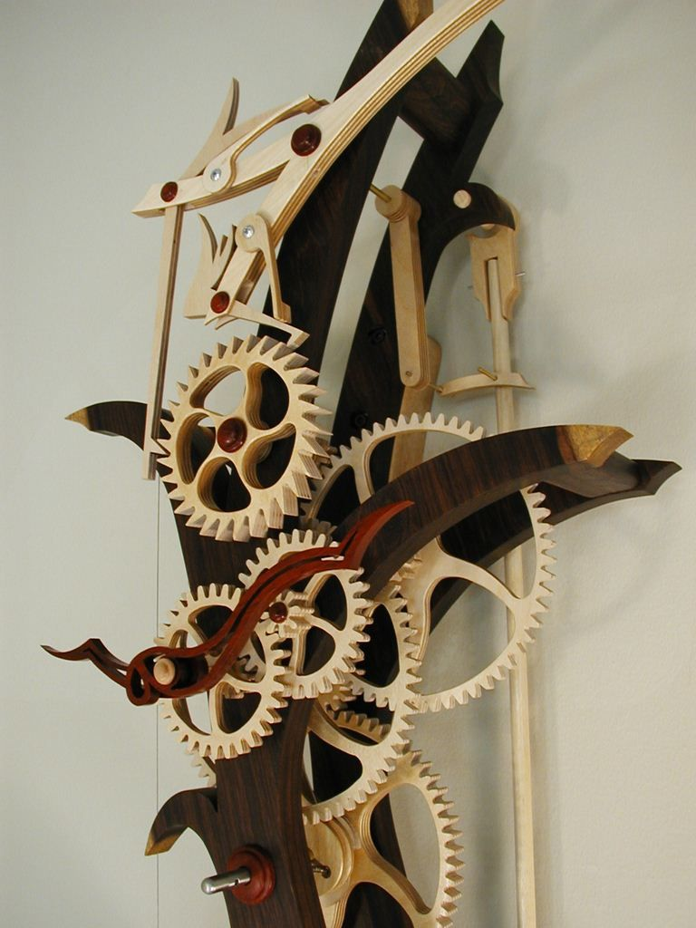 Large wooden mechanical skeleton wall clock with pendulum weight wooden clock gears show you some some photos of the first clock amipublicfo Images