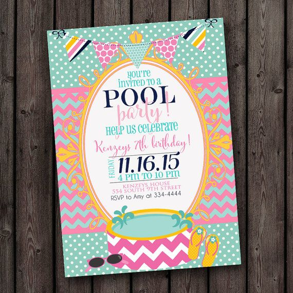 swim party invitations