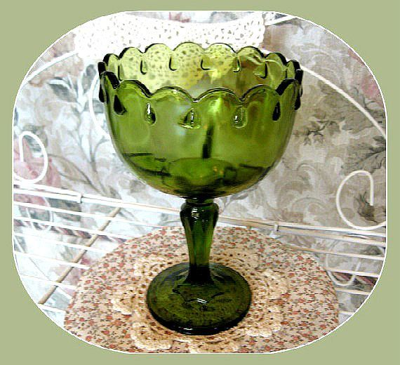 Decorative Colored Glass Bowls Glamorous Vintage Green Glass Pedestal Bowl Decor Christmas Decor Glass Decorating Inspiration