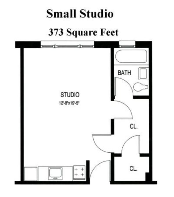 Small studio apartment floor plans floor plans from for Small 1 bedroom apartment floor plans
