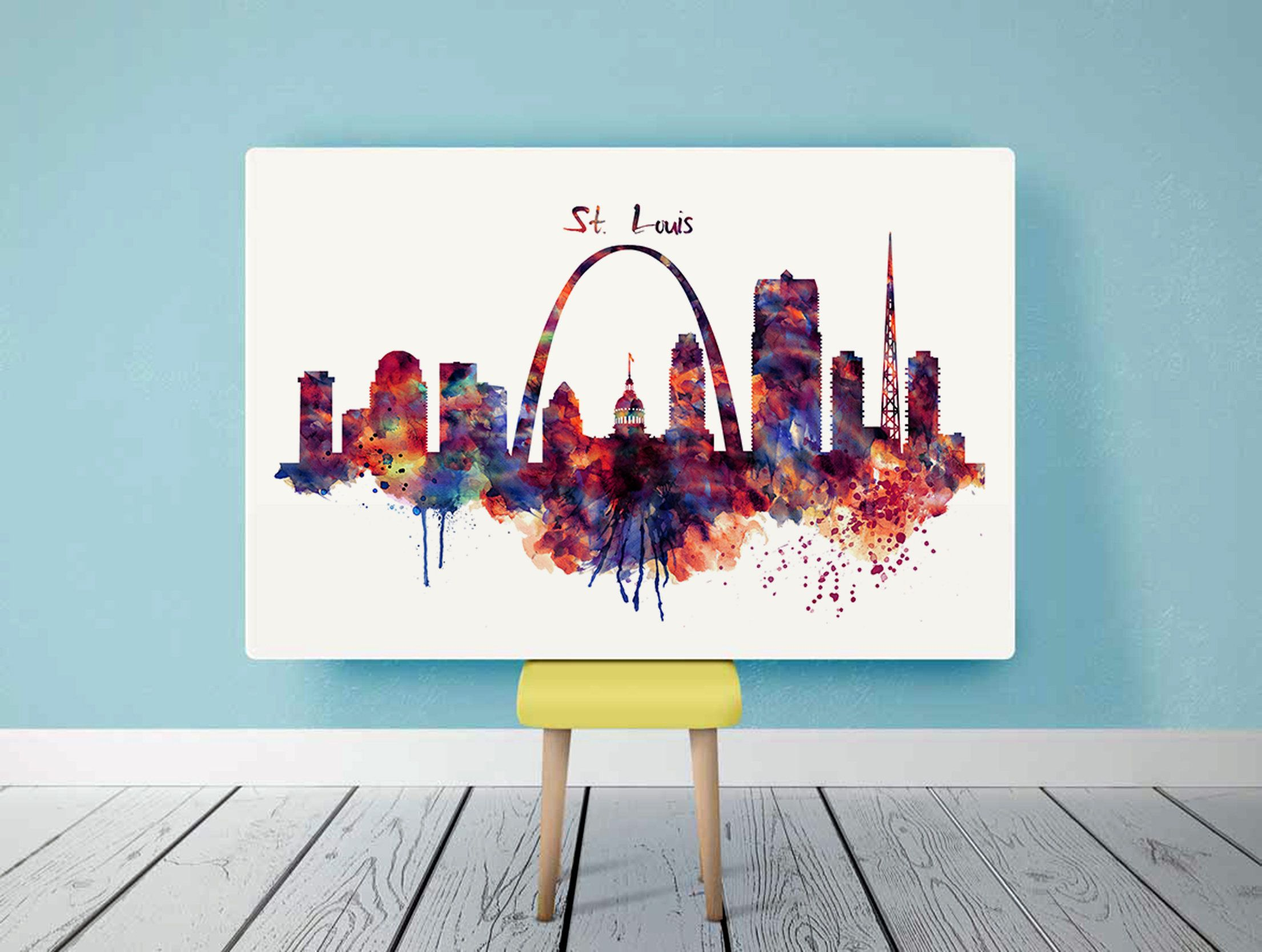Horizontal Watercolor Skyline Of St Louis Digital Download
