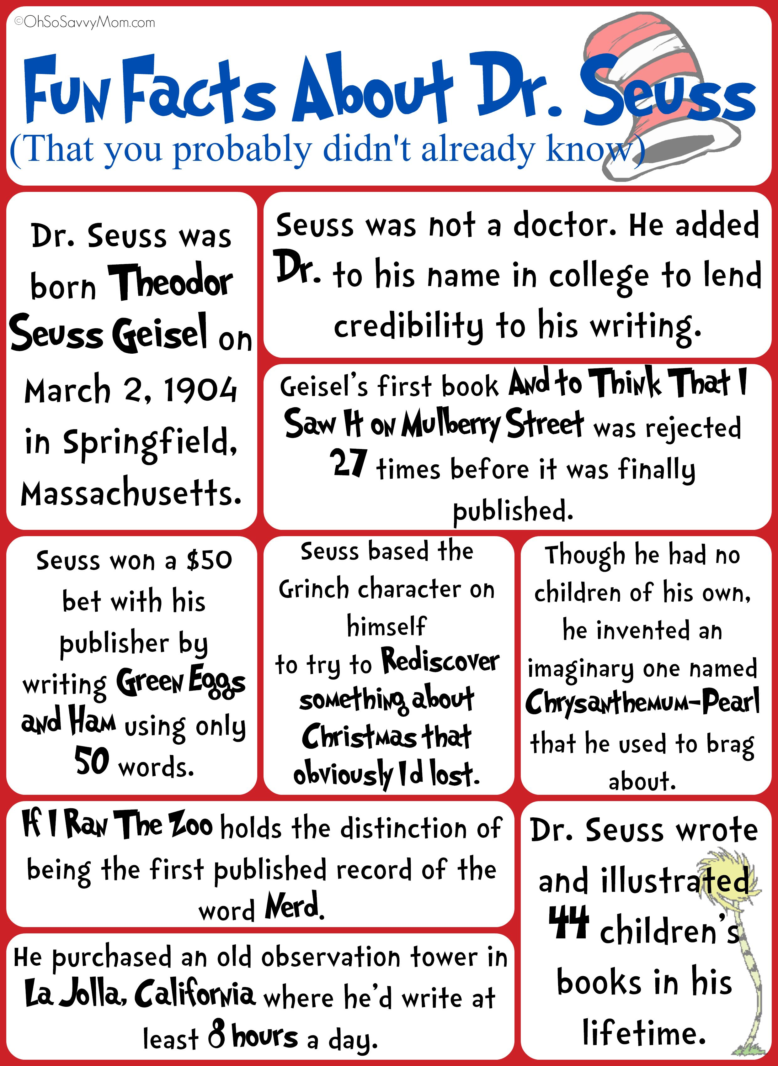 Fun Facts About Dr Seuss That You Probably Didn T Know