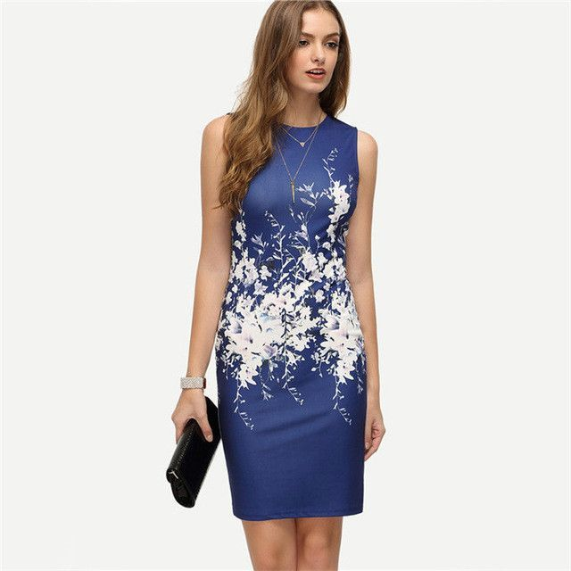 70fb73d7b COLROVIE 2016 New Summer Style Bodycon Dresses Vintage Ladies Sexy Fitness  Floral Print Sleeveless Crew Neck Dress