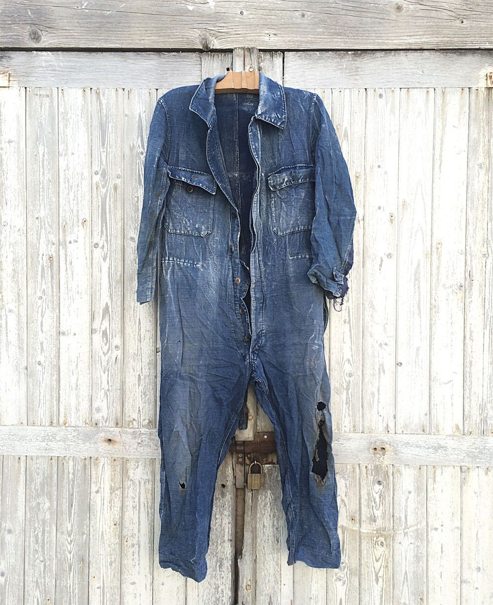 a840aa8f730 40s French Jumpsuit Darned Patched Workwear Denim Indigo Blue Overall  Moleskine