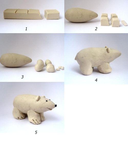 ijsbeer kleien met kleuters stap voor stap