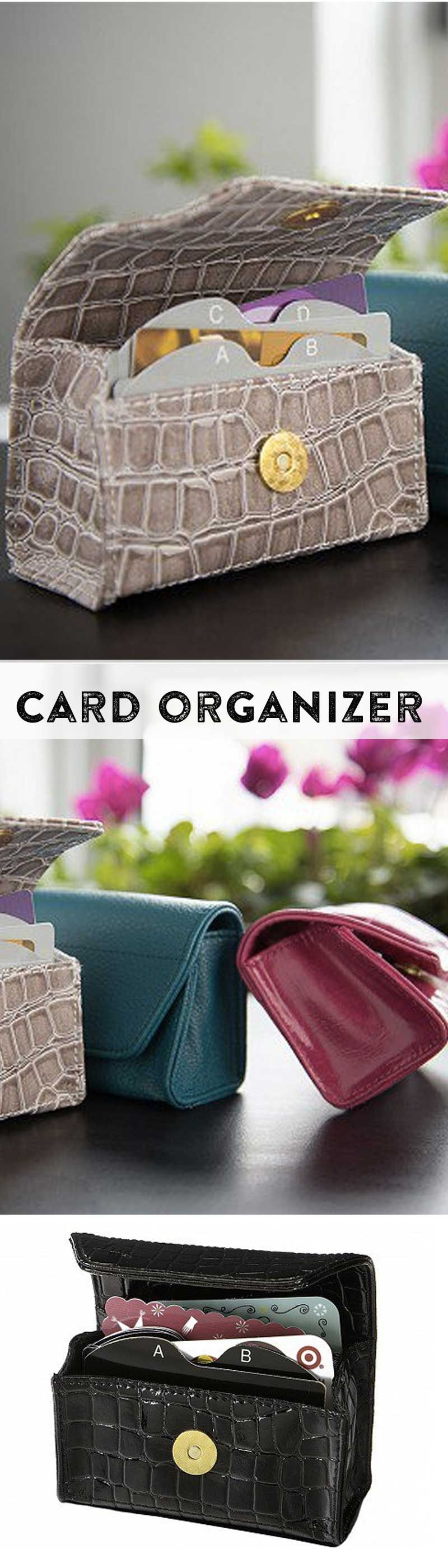 An alphabetized wallet that organizes your gift cards, credit cards ...