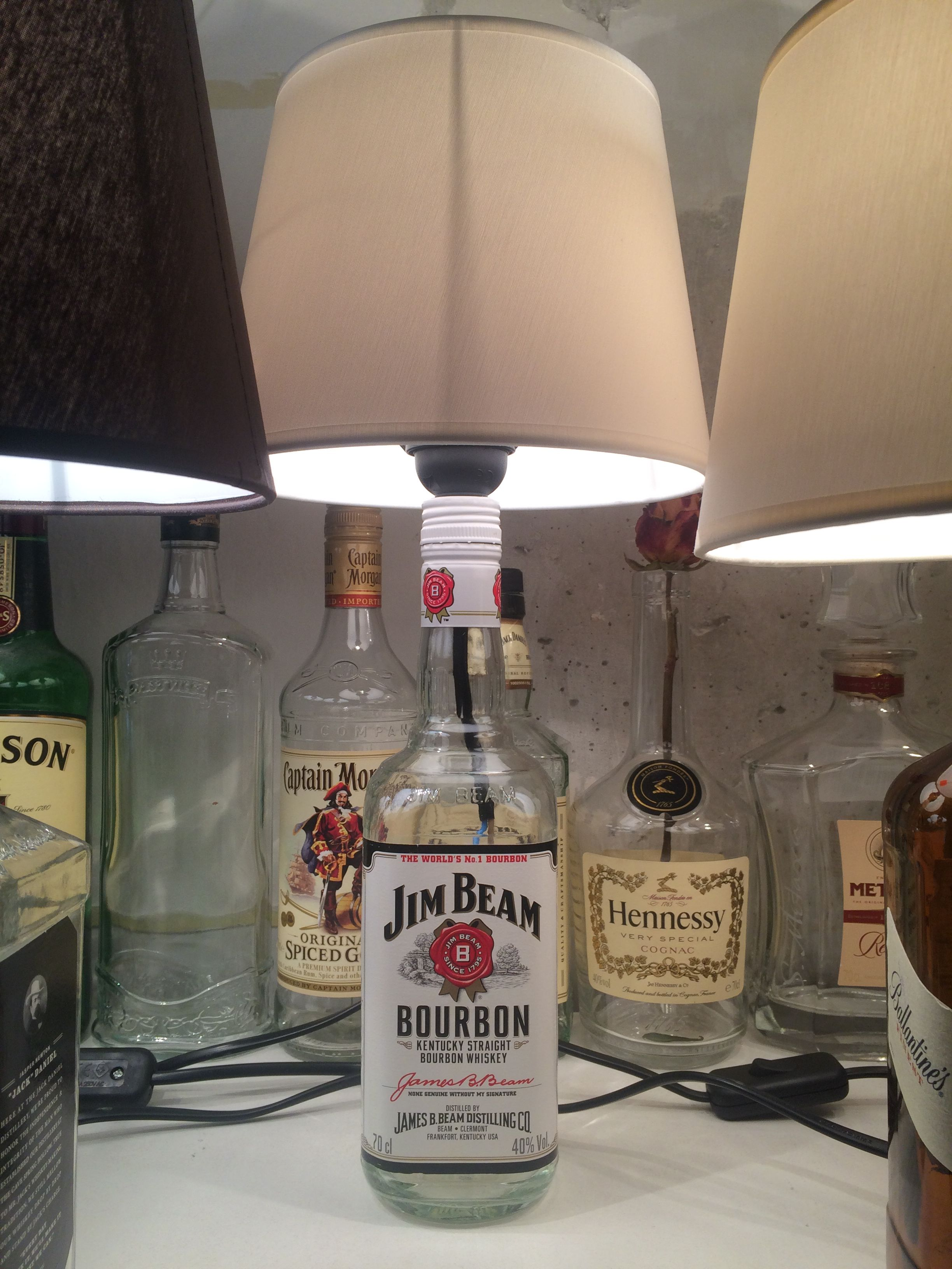 Diy Jim Beam Bottle Lamp Diy Bottle Lamp Mason Jar Lamp
