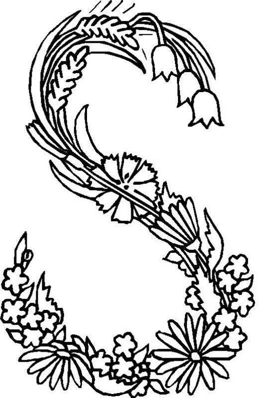 alphabet flower s coloring pages - Letter S Coloring Pages
