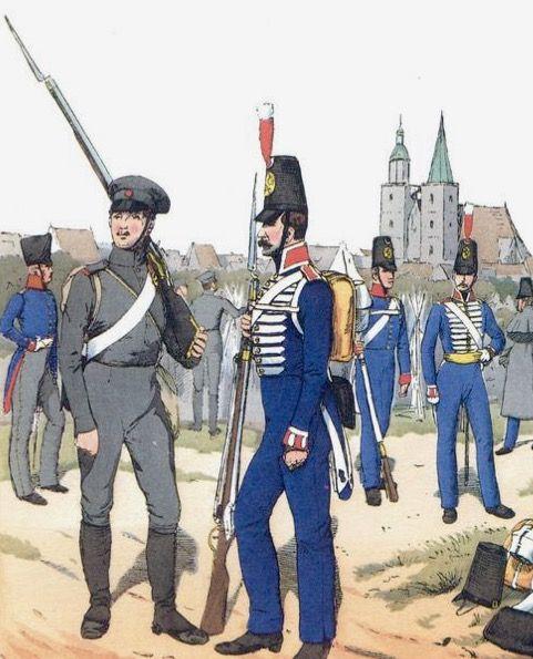 Ufficiale, sottufficiale e fucilieri del 4 rgt. fanteria  di riserva prussiana