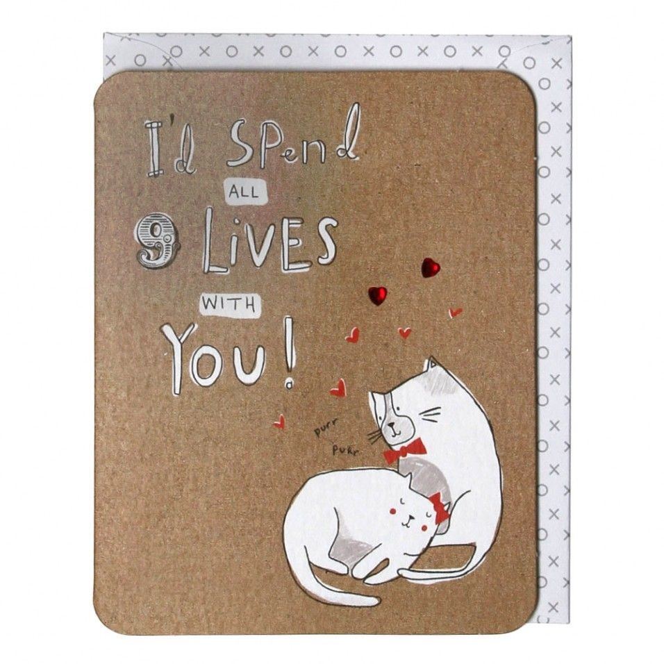 All 9 lives with you Valentine's card