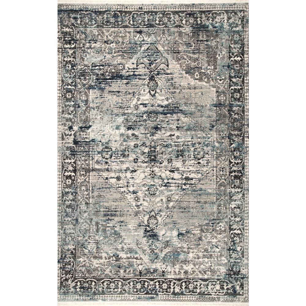 Nuloom Cassie Vintage Fringe Gray 9 Ft X 12 Ft Area Rug Khtr09b 9012 With Images Area Rugs Grey Area Rug Nuloom