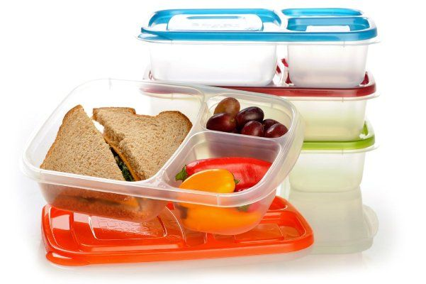 "EasyLunchboxes 3-compartment Bento Lunch Box Containers ""CLASSIC"" (Set of 4). BPA-Free. Easy-Open Lids (Not Leakproof):Amazon:Kitchen & Dining"