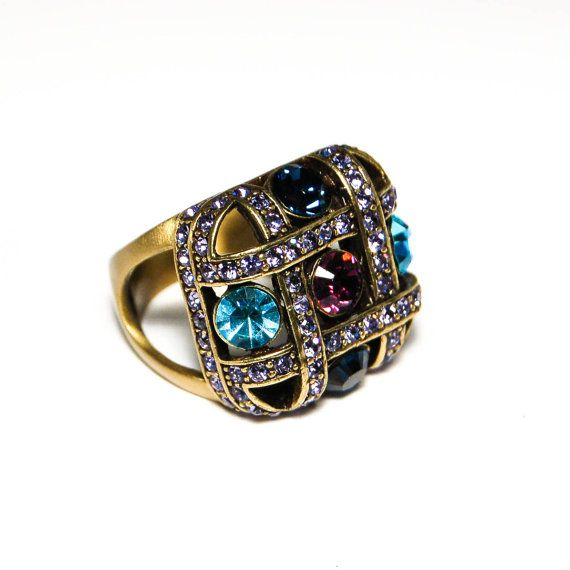 Vintage Heidi Daus Blue Topaz Amethyst Rhinestone Checkerboard Ring Antique Gold Tone Square Statement Cocktail Ring