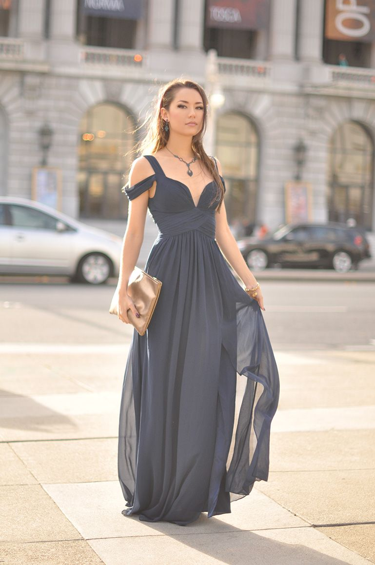 Elegant Long Navy Dress