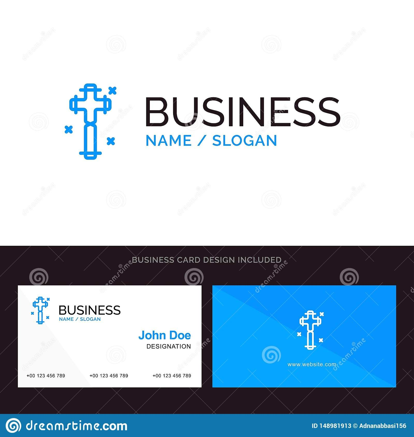 Celebration Christian Cross Easter Blue Business Logo And Within Christian Business Ca Free Business Card Templates Business Card Template Business Template