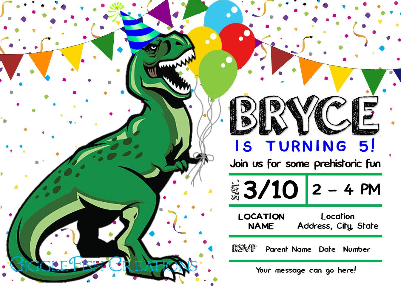 Dinosaur Birthday Party Invitation T Rex Hat