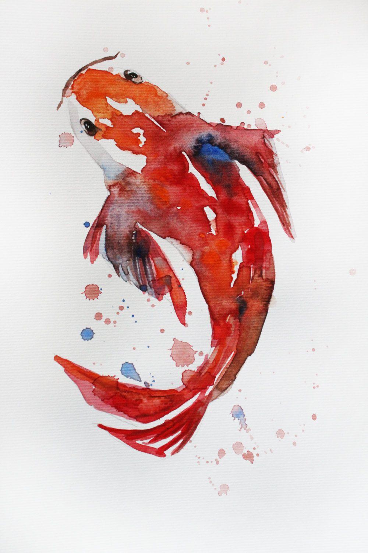 ORIGINAL Watercolor Painting Koi Fish, Gold Fish, Sea Goldfish, Girt ...