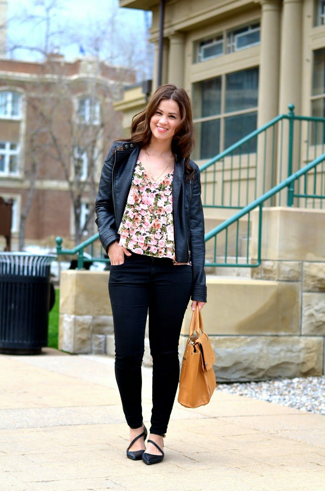 Blogger Born Lippy pairs Gap denim with floral prints and leather.