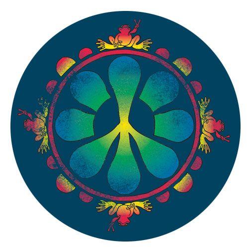 PEACE FROGS BLUE STICKER