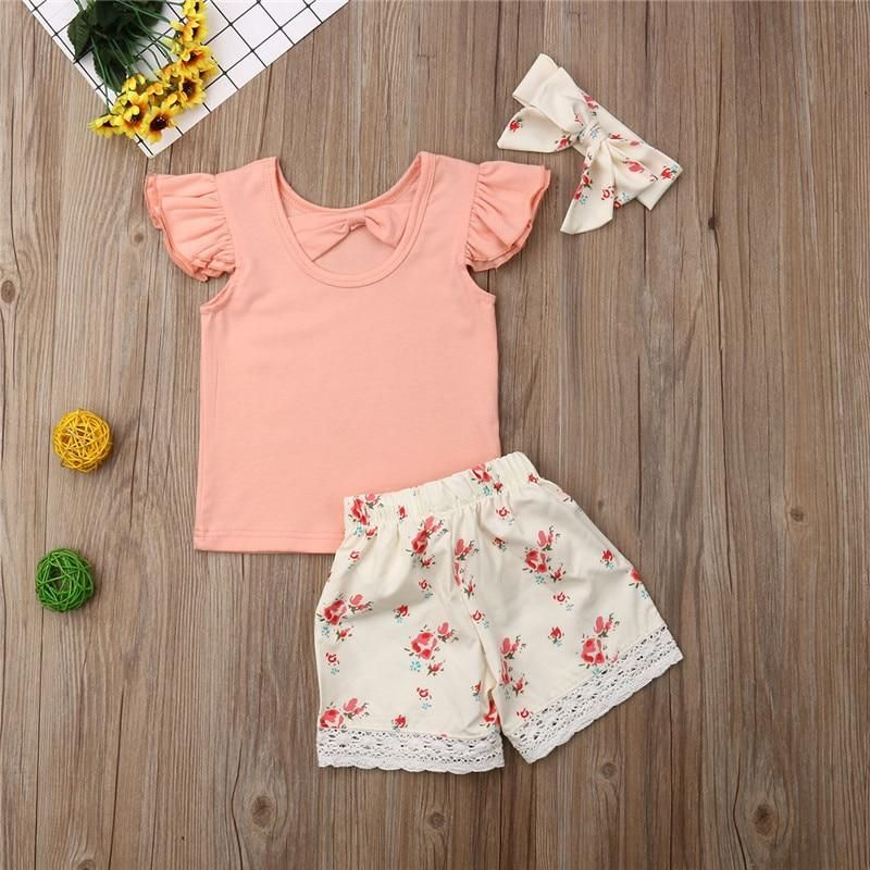 3PCS Newborn Floral Baby Girl Tops Dress Shorts Pants Clothes Set Summer Outfits