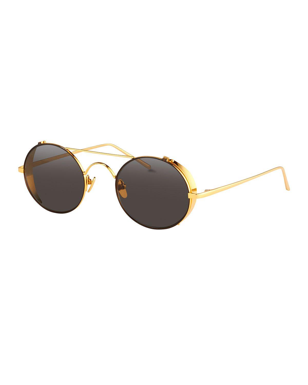 a032af9f925 Round Brow-Bar Sunglasses