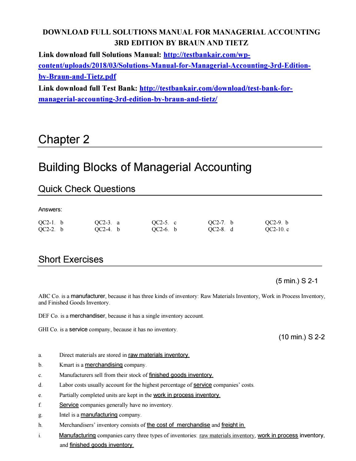 Download solutions manual for managerial accounting 3rd edition by braun  and tietz