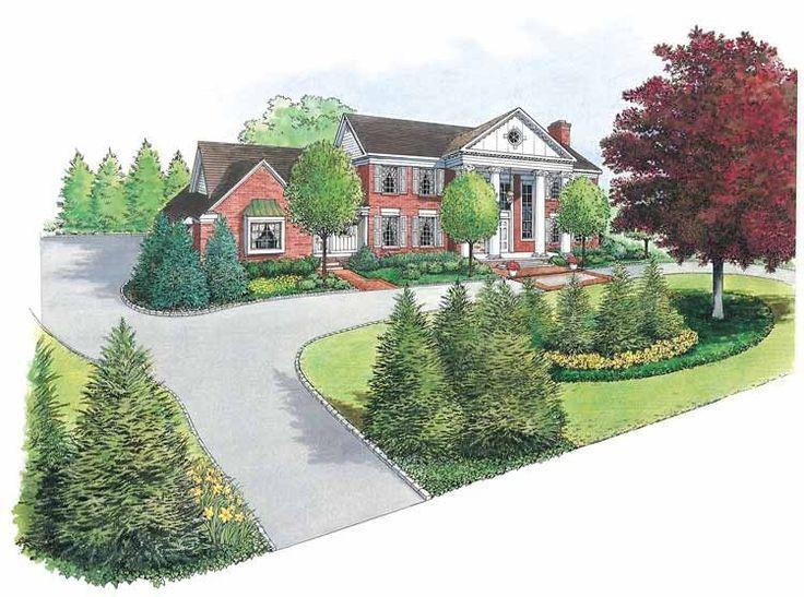 circular driveway house on a hill atlanta landscaping plot