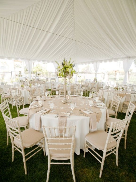 White Wedding Reception Tent Decorations With Khaki