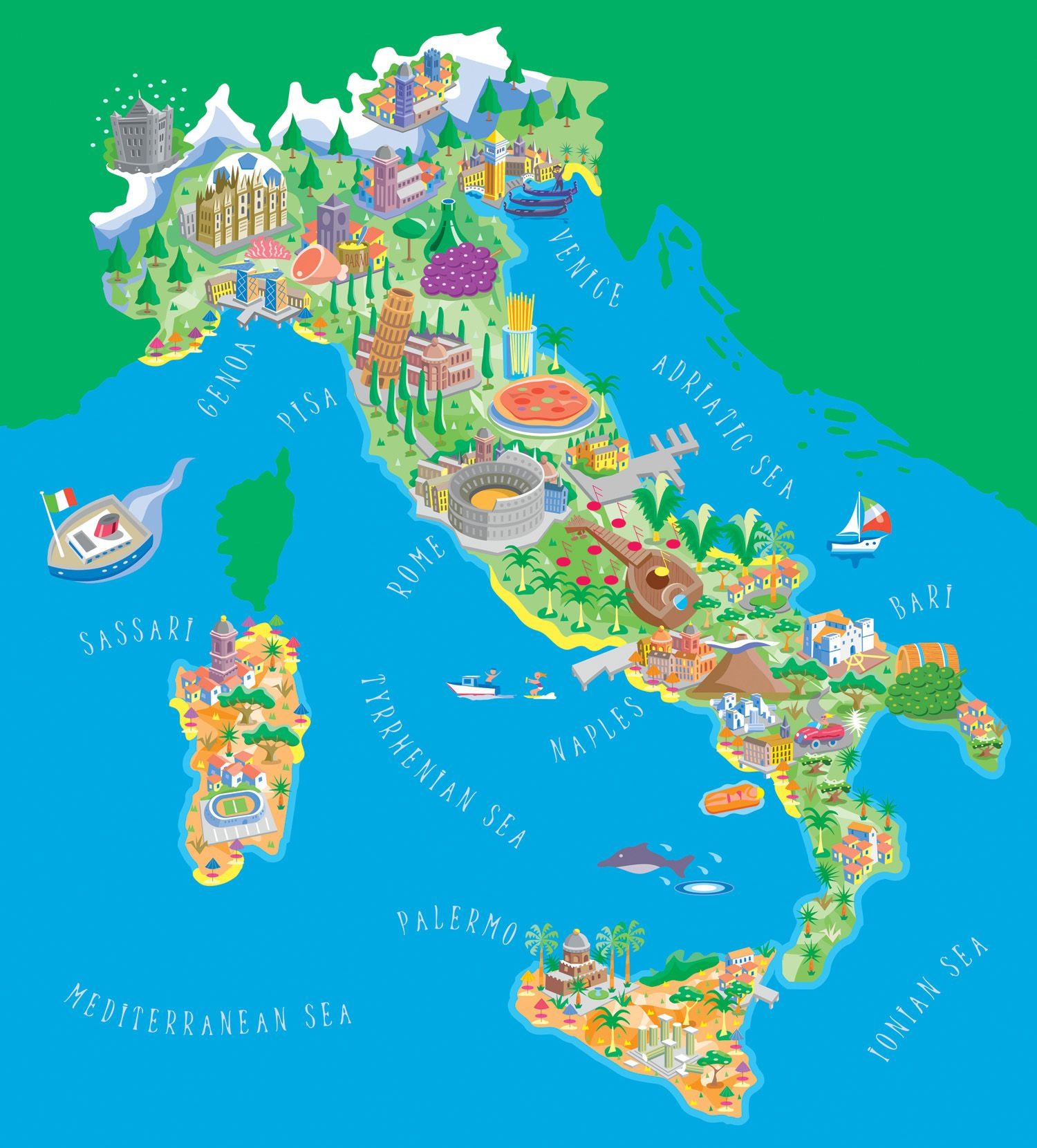 Large Map Of Italy.Italy Tourist Map Of Italy Italy Large Detailed Illustrated