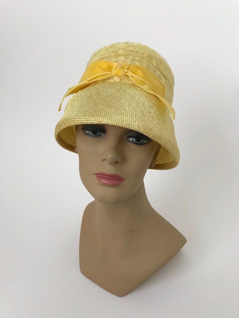 e1f290c2e0cd1 Women s Vintage 1960s Yellow Woven Straw Bucket Hat by Marshall Field   Co