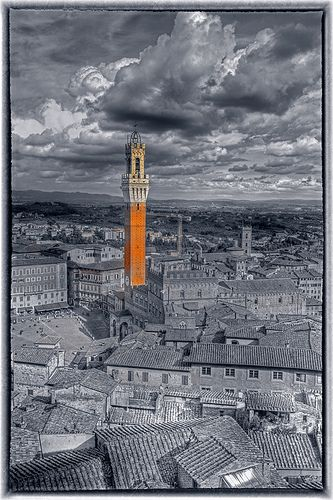 The Torre del Mangia tower in Siena, Italy