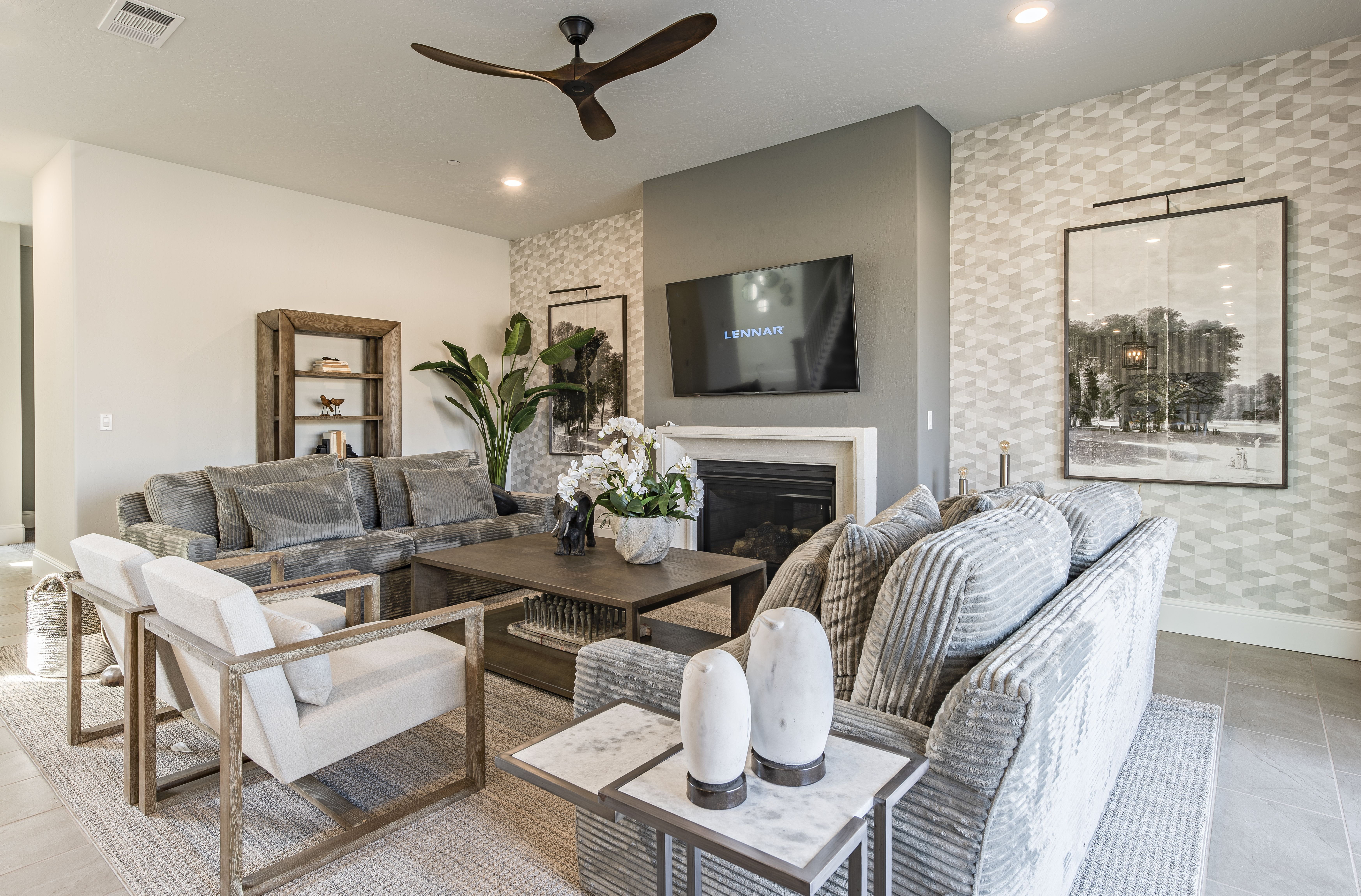 Restoration Hardware Inspired Great Room Decor Grey Tone Color Scheme And Wood Accents Room Design Formal Living Rooms New House Plans New Homes