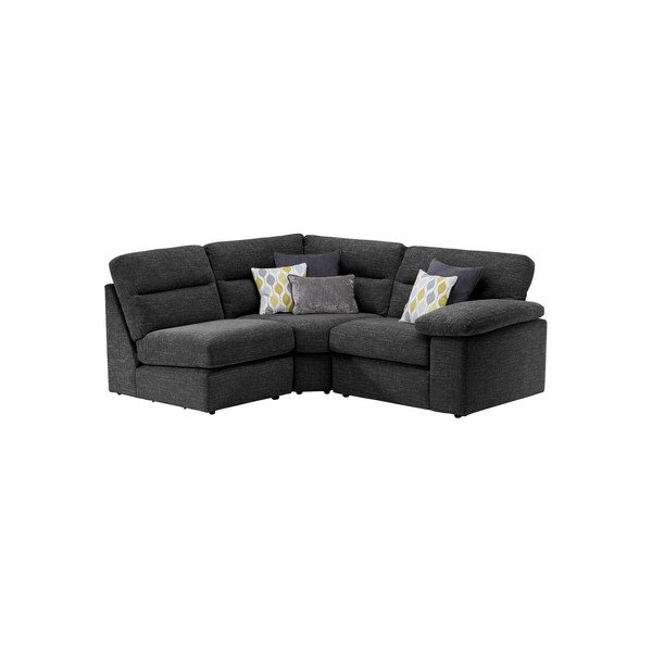 Morgan Modular Group 7 In Santos Black With Green And Grey Scatters Black Fabric Sofa Oak Furniture Land Modular Sofa