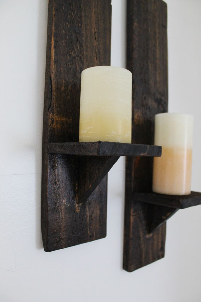 Wall Candle Sconces Wood : DIY Pallet Wood Candle Sconces Diy wood projects, Wood candle holders and Pallet wood