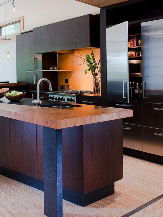 Modern Kitchen Design Gardner Mohr Architects Kitchen With Wood Countertops Dark Cabinets