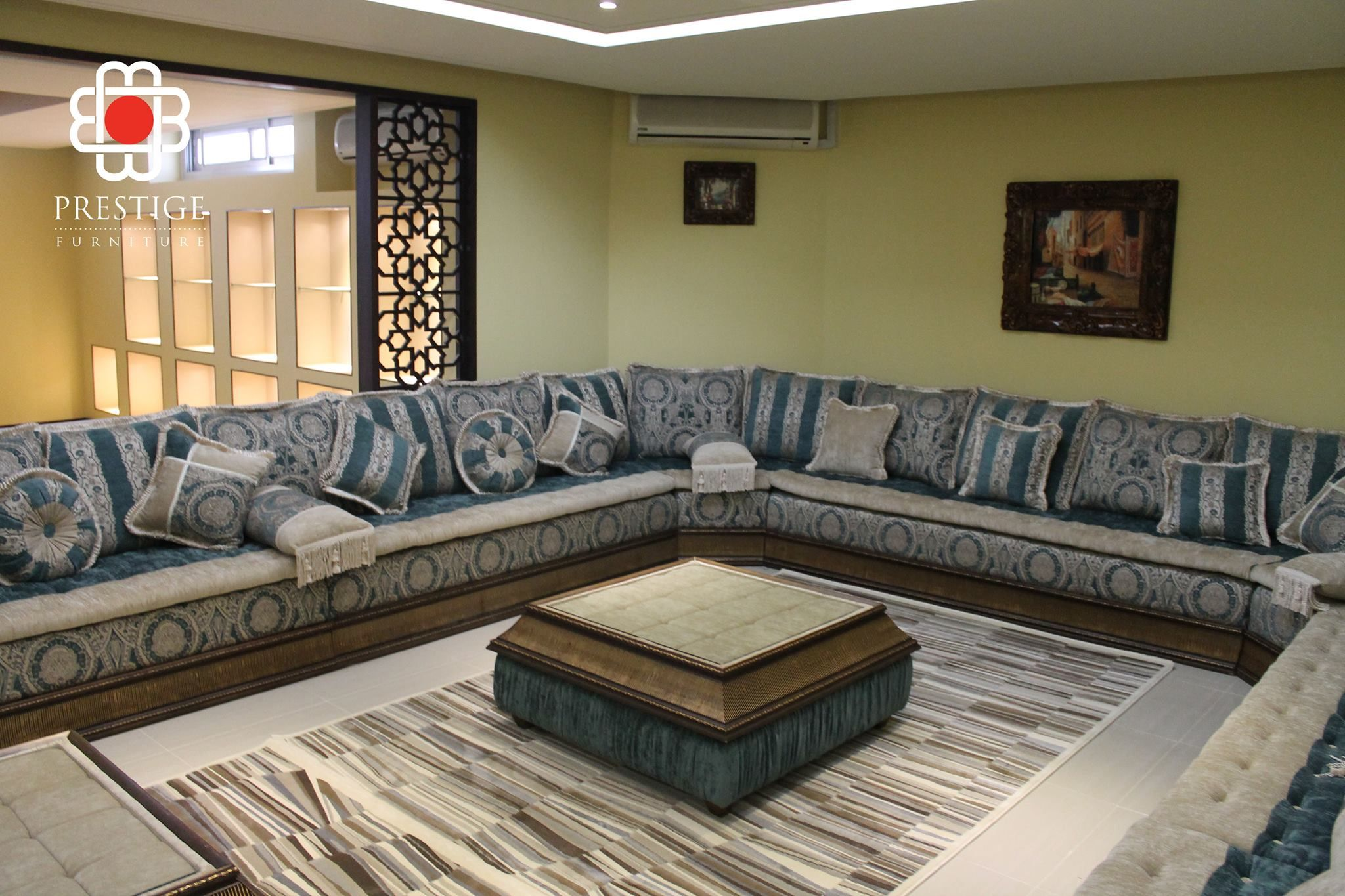 Simple Yet Chic Livingroom Interior By Prestige Furnitures The Silver Arabian Esque Patterned Design Furnitur Furniture Furniture Design Living Room Furniture