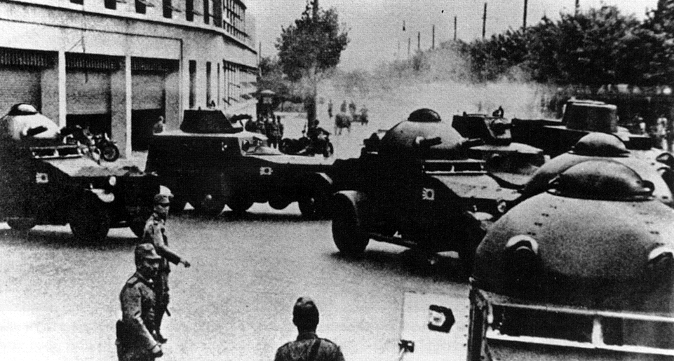 Japanese Type 87 Armored Cars Domed Turrets In China Armored