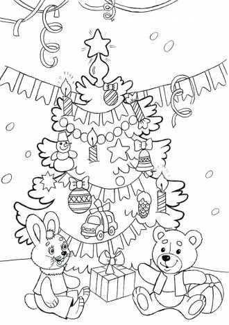 раскраска праздничная ёлка с подарками распечатать ...