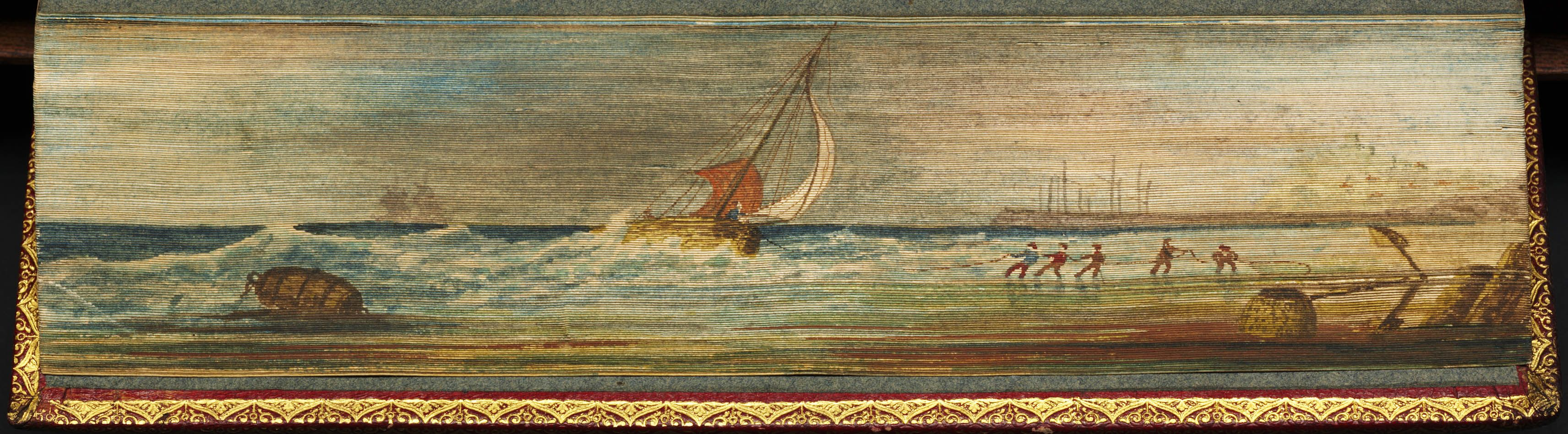 Book title: Helga Herbert, William. Helga; a poem. In seven cantos. London, Printed for John Murray, 1815. 8vo, contemporary red straight grain morocco, gilt edges. Under the gilt is a fore-edge painting of a seascape, showing fishermen beaching a boat.