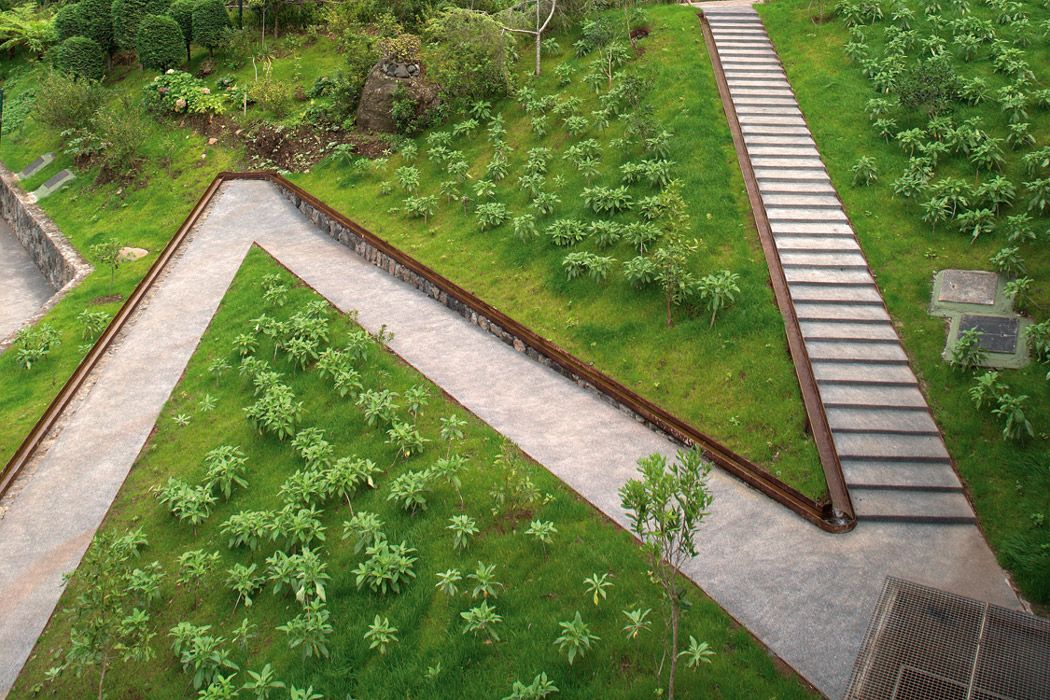 Volcano pavillion and water gardens of s vicente by for Terrain landscape architecture