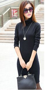 Solid Thicken Winter Dress For Women Turtleneck Fleece Warm Dresses Feminino Casual Long Sleeve Plus Size Vestidos L8283