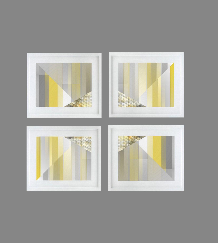Yellow Geometric Art Grey Home Decor 8x10 Print by HLBhomedesigns
