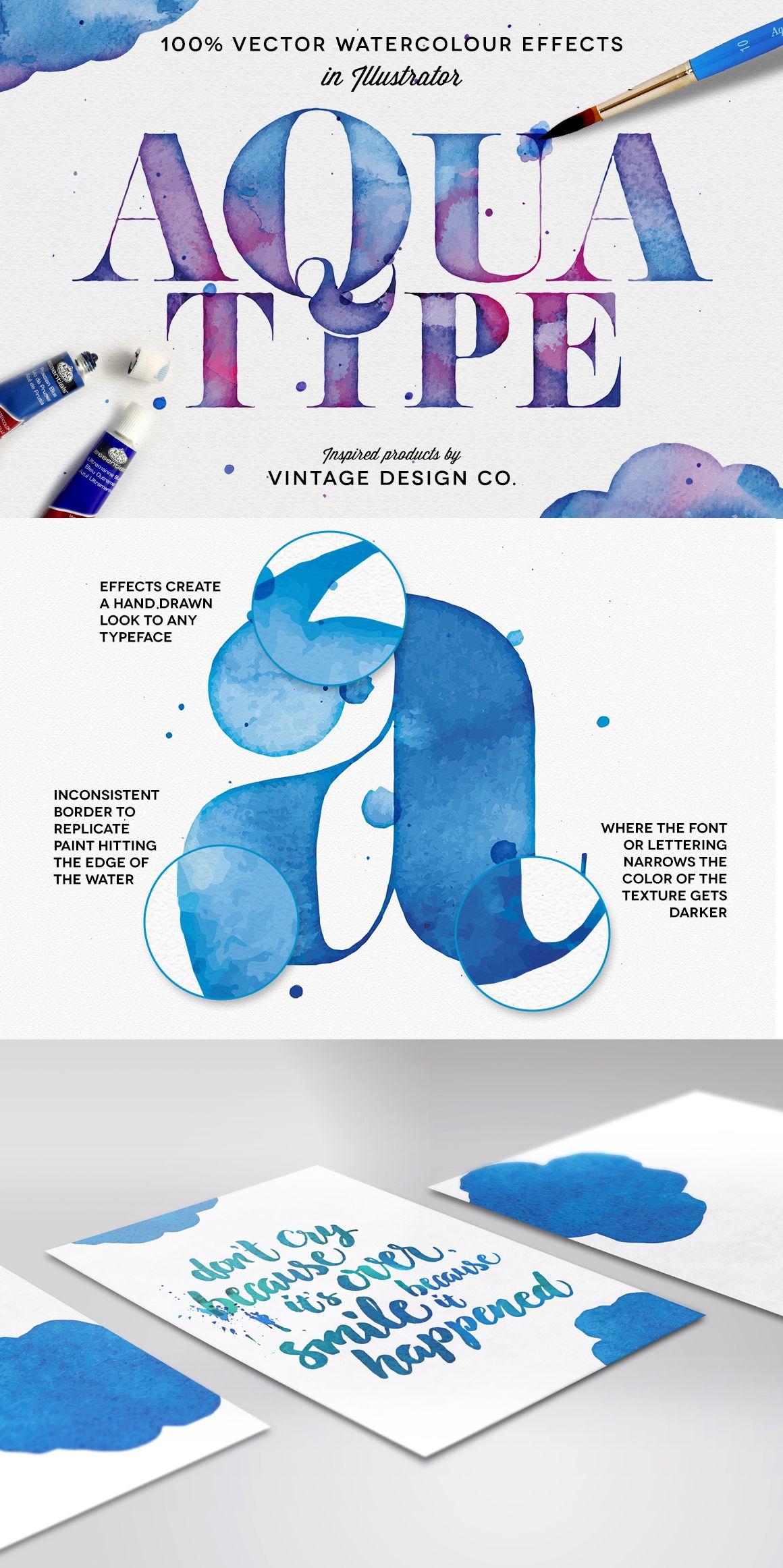 Aquatype Vector Watercolor Effects Graphic Design Typography