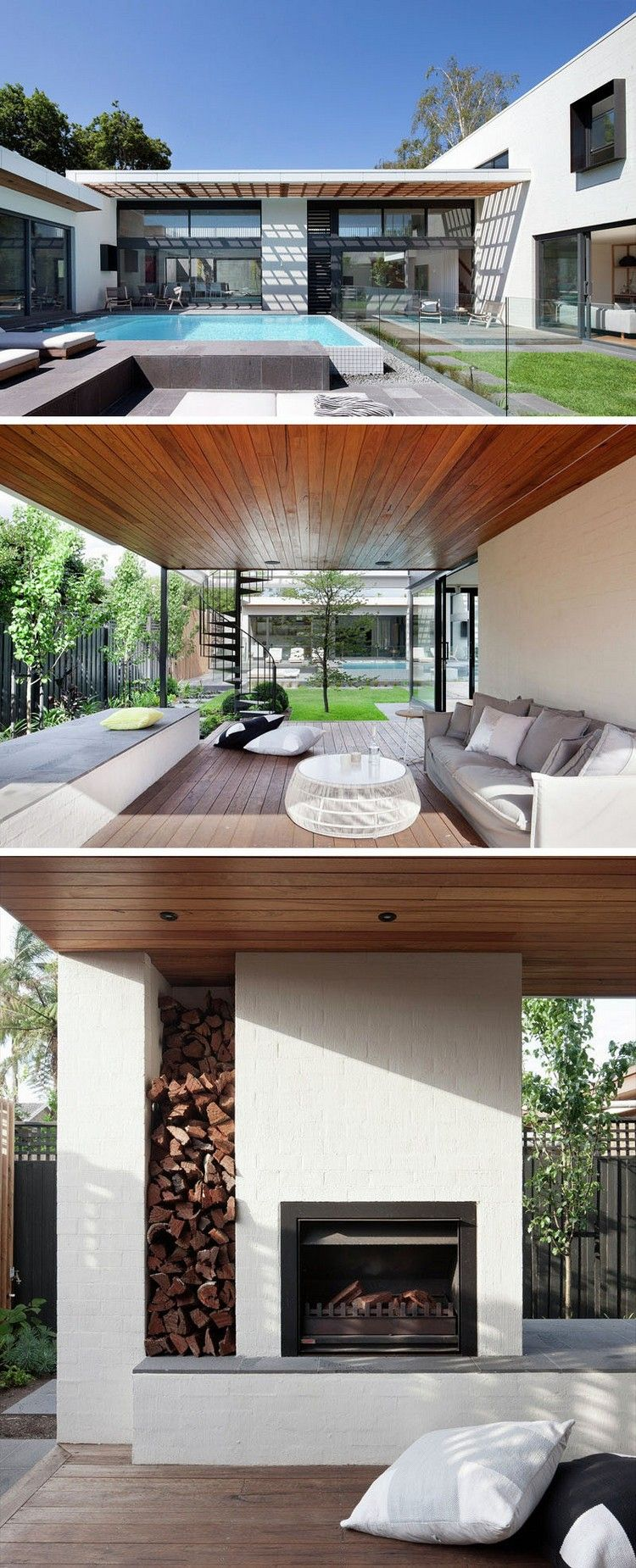 aménagement extérieur maison avec terrasse, piscine extérieure et ...