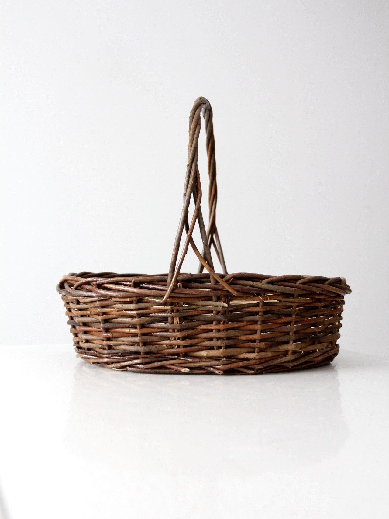vintage twig gathering basket