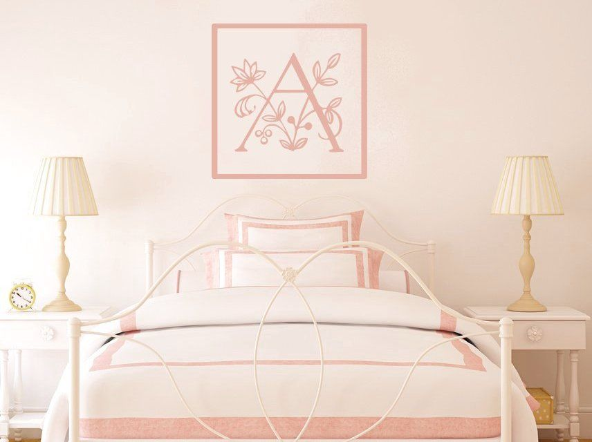 WW Floral Splash Monogram Vinyl Wall Decal Many Colors To - Monogram wall decals letters